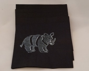 Black and Silver Rhinoceros Paper Cocktail/ Luncheon/ Dinner Napkins