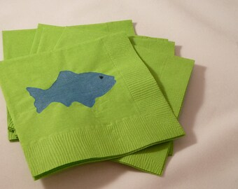 Green and Blue Fish Paper Cocktail/ Lunch/ Dinner Napkins