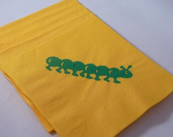 Caterpiller Paper Cocktail/ Lunch/ Dinner Napkins - Green and Yellow