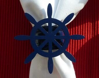 Navy Blue Ships Wheel Napkin Rings - Set of 4