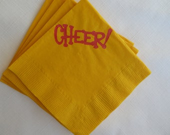 Bright Yellow and Red Cheer Paper Cocktail/ Luncheon/ Dinner Napkins