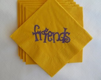 Yellow and Purple Friends Paper Cocktail/ Luncheon/ Dinner Napkins