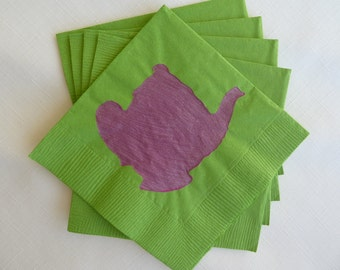 Teapot Paper Cocktail/ Lunch/ Dinner Napkins - Green and Fuschia
