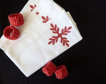 White Napkins With Red Design - Set of 4