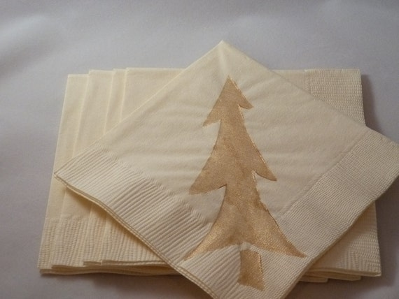 Gold Christmas Tree Paper Cocktail/ Luncheon/ Dinner Napkins
