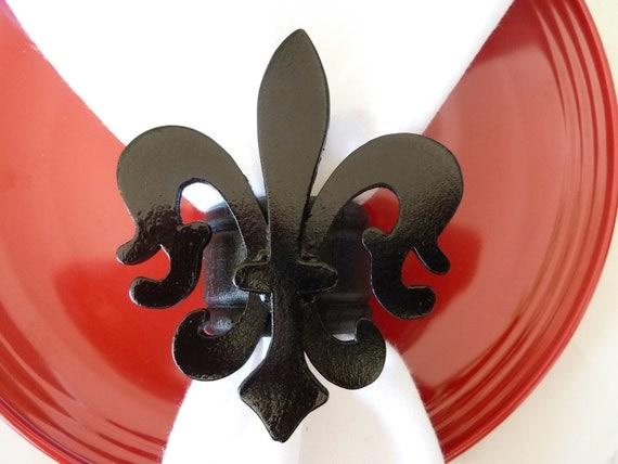 Black Fleur De Lis Napkin Rings - Set of 4