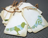 12 Vintage Inspired Little Birdie Mini Tags