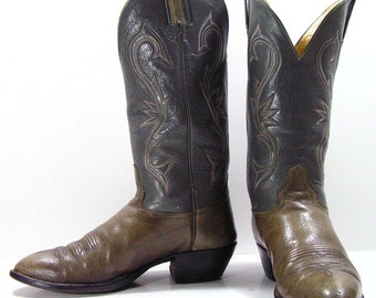 vintage cowboy boots mens 9 d gray grey western womens 10.5 hondo