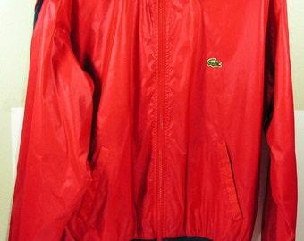 vintage lacoste jacket mens large red wind breaker golf izod 1980s coat  womens xl