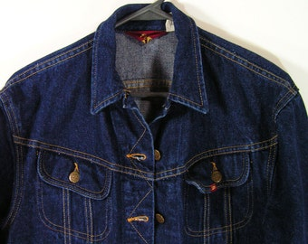 lee denim jacket blue womens 9 10 ms lee cowboy western cowgirl vintage button down