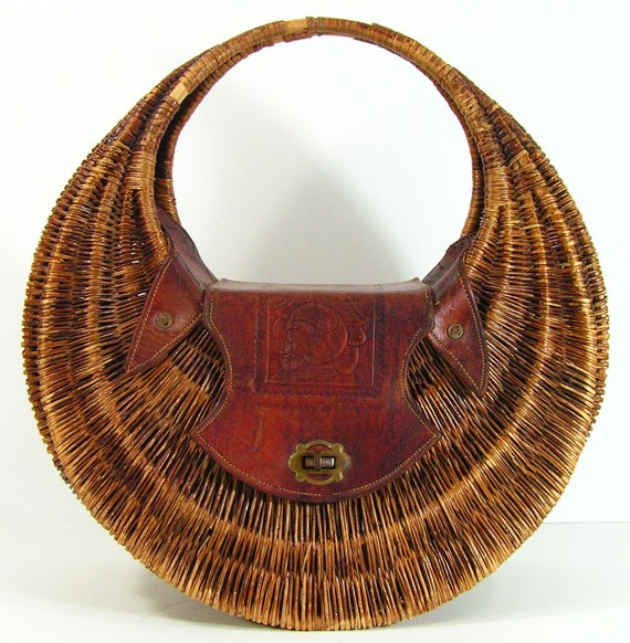 vintage purse tote bag woven straw tooled leather western cowgirl cowboy 1950s