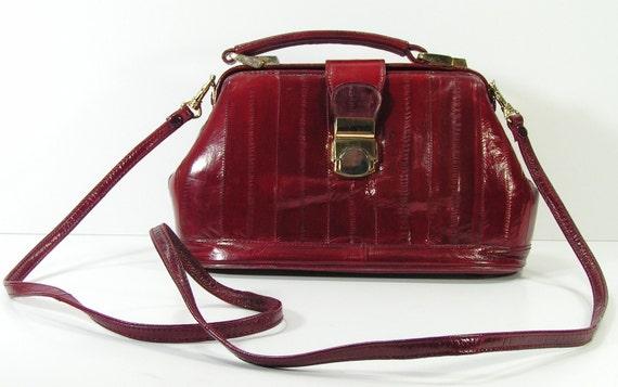 vintage shoulder bag purse burgundy genuine eel skin small tote bag clutch