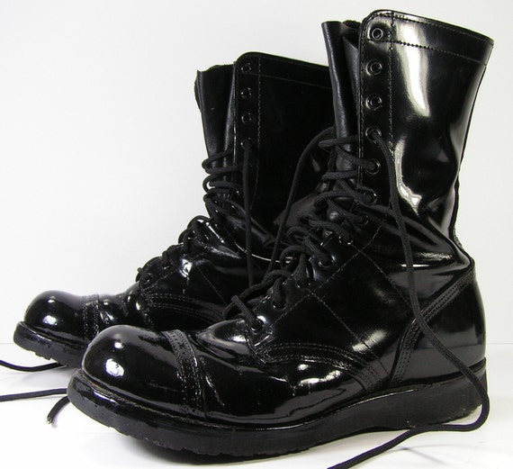 leather combat boots mens 11 D R glossy black military work