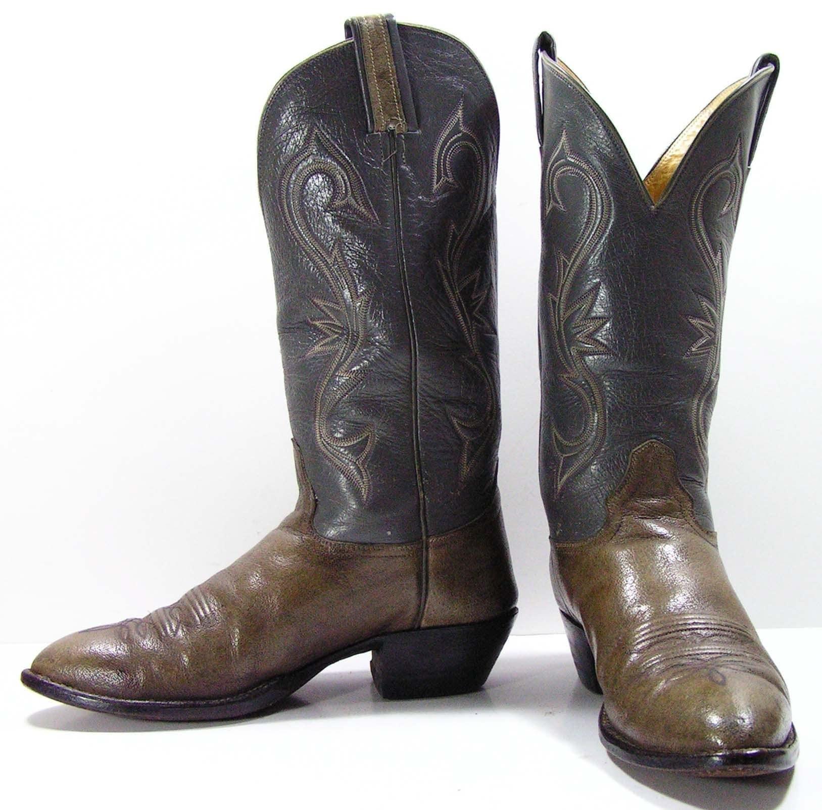 vintage cowboy boots mens 9 d gray grey western womens 10 5