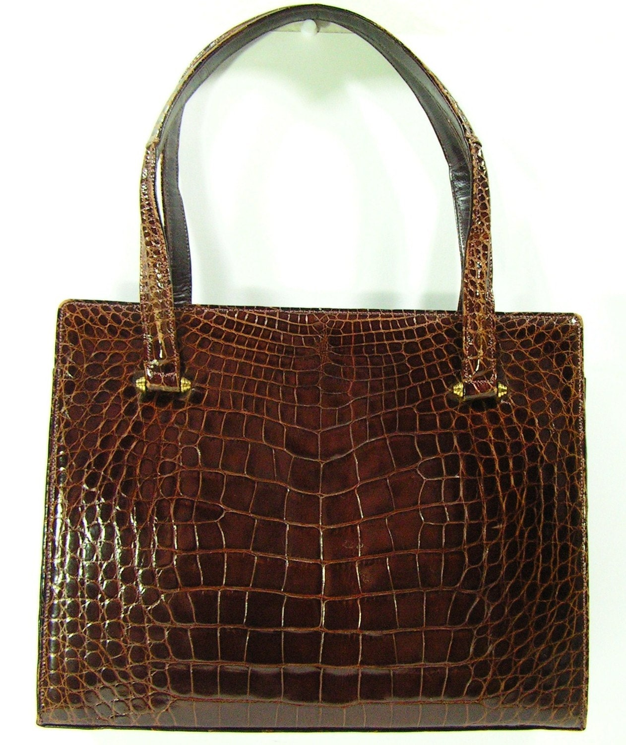 vintage Lucille de Paris purse genuine alligator brown luxury