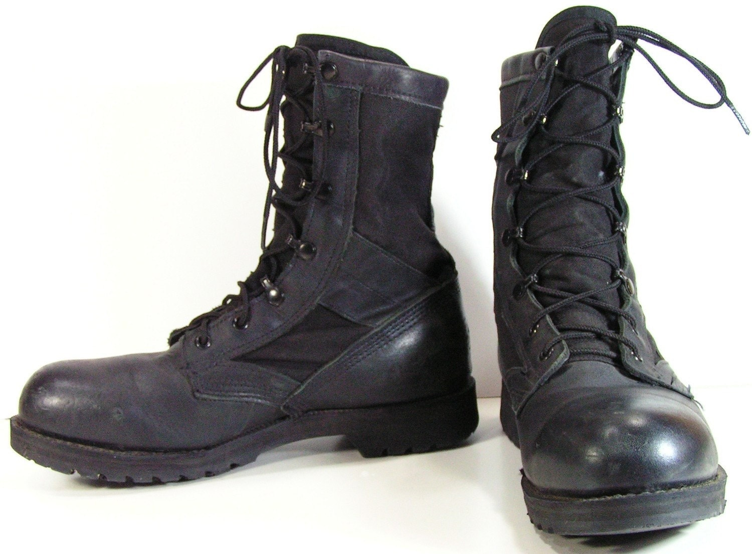 combat boots mens 9 d black steel toe work grunge