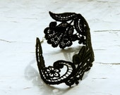 Lace Bracelet - Chloe Cuff in Black - Bridesmaid Jewelry
