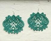 Lace Earrings - Lucia in Metallic Emerald