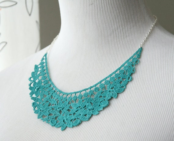 Lace Necklace - Sarane in Aqua - Turquoise Blue Bridesmaid Necklace - Lace Jewelry For Her