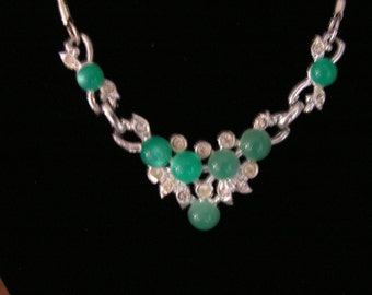 Sale! Now 21.00! Vintage 1970's Faux Jade & Rhinestone Necklace and Brooch Set - Vintage Costume Jewelry Set - FREE SHIPPING!!