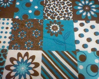 Turquoise and Brown patchwork flannel - 1 yard