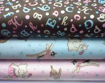 David Textiles Fanciful of friends pink and blue bundle 1/2 yard each