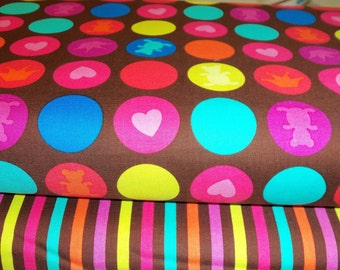 Michael Miller Gum Drops and candy stipe - 1/2 yard each