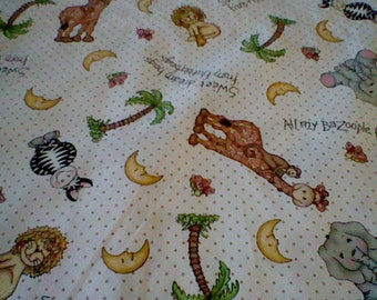 Just Reduced -Bazooples Animal Toss Fabric - 1/2 yard