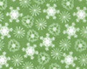 SALE-Michael Miller Snowflake in green - you choose the cut