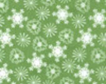SALE-Michael Miller Snowflake in green 1 yard