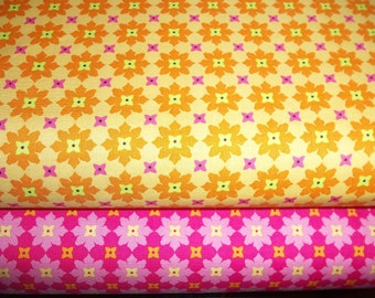 Michael MIller Tiny Flowers in Tangerine and Fuschia 1 yard each