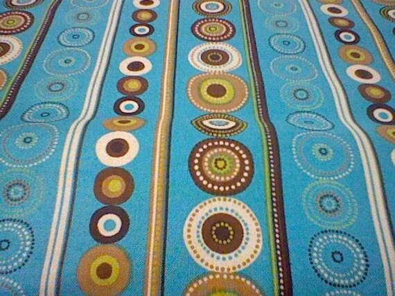 Just reduced-David Textiles Floral Medallion Brown and Aqua Fabric Bundle - 1 yard ea.