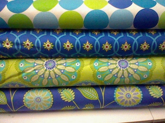Michael Miller Blue Gypsy Flower Bundle - 1 fat quarter each