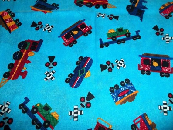 Train fabric by dreamspinners for vip 1 yard by for Train fabric by the yard