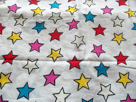 """White with multi-colored stars Set of 2-24 1/2"""" X 29"""" pieces"""