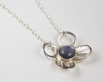 Moonstone Floral Necklace, Sterling Silver Pendant Necklace, Handcrafted Bazel, Stone Set Necklace by Eko Wright - Florie Necklace