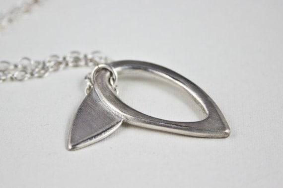 Minimalist Sterling Silver Leaf Pendant Necklace, Modern Sleek Botanical Necklace by Eko Wright - Collette Necklace