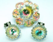 Vintage Margarita Demi Parure Rhinestone Brooch and Earrings Set