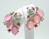 Vintage Faux Moonstone Earrings Lisner In A Lovely Muted Pink