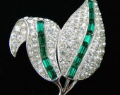 RESERVED FOR NAN Vintage Leaf Brooch with Clear Pave Rhinestones and Green Baguettes