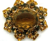 Vintage Brooch Topaz & Citrine 1960s With Large Oval Center Stone Book Piece