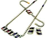 Vintage CZECH Rhinestone Necklace Bracelet Earrings 3pc Set Purple & Clear