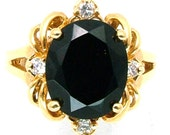 Vintage Ring Large Oval Black Glass Center Stone and Rhinestone Accents, Size 6