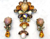 RESERVED ITEM Vintage Glass Fire Opal & Rhinestone Dangle Brooch Earrings Demi Parure