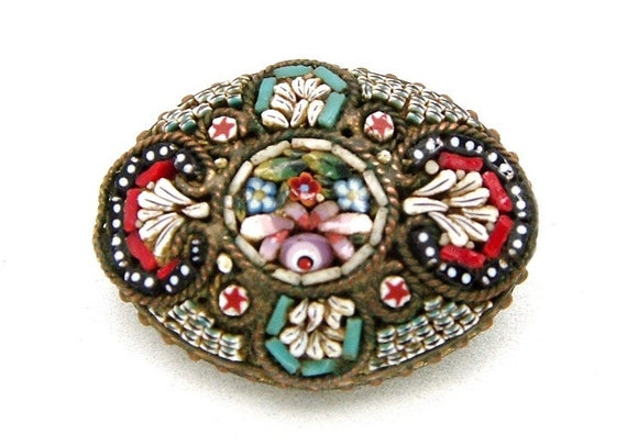Vintage Petite Brooch Micro Mosaic Made In Italy