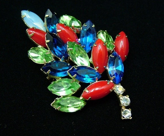 Vintage Rhinestone Leaf Brooch Multi Colored Marquise Navettes of Red, Blue and Green