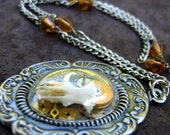 Mouse Skull Silver Shadowbox Necklace - Blinky