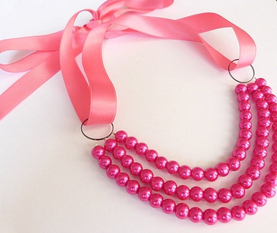 Bib Necklace in Hot Pink with Layers and Pink Ribbon Tie