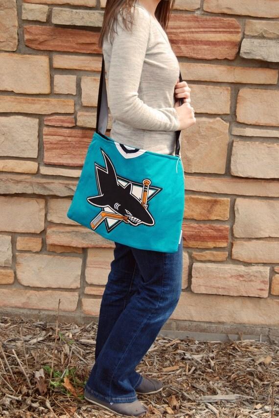 San Jose Sharks NHL Upcycled Hockey Jersey Purse Ready to Ship