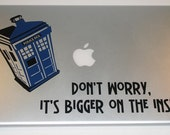 Police Box laptop decal vinyl sticker Its bigger on the inside